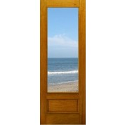 "FD1LPB - Mahogany 1-Lite Panel Bottom Dual Clear Tempered Glass (8-0ft) (1-3/4"")"