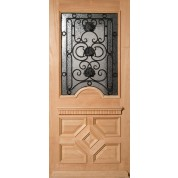Mahogany Lancaster Half-Lite Door with Artistic Iron Grill and Glue Chip Glass
