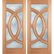 "ESM538A - Escon - Mahogany Oval Ring Double Door [Crescendo] Raised Molding 1 Side (1-3/4"")"