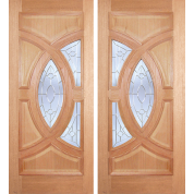 "ESM538PA - Escon - Mahogany Oval Ring Double Door [Plain Panel]: Excellent Series (1-3/4"")"