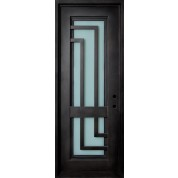 "MALIBU - Wrought Iron Door, Frame and Glass with L-Shaped Scrolls (1-3/4"")"