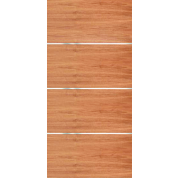 "Movida - Mahogany Flush Door with 1/4"" Horizontal Aluminum Strips (1-3/4"")"