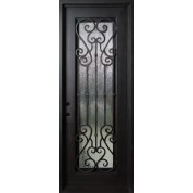 Wrought Iron Door, Frame and Glass with Heart and S-Shaped Scrolls