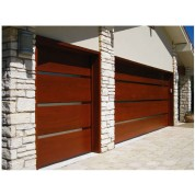 "Reeves - Contemporary Wood Garage Door with 2"" Vertical Stainless Steel Inlays"
