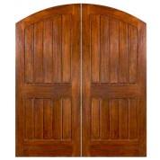 """Sardinia - Mahogany Sardinia Elliptical Arch Plank Double Doors (1-3/4"""")"""