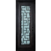 "STELLA - Wrought Iron Door, Frame and Glass with Tetris Scroll (1-3/4"")"