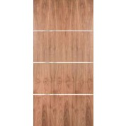 "WALPSA3H - Walnut Plain Sliced Standard Duty Flush Doors with Modern 1/4"" Aluminum Strips Inlaid Horizontally (1-3/4"")"