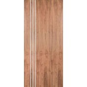 "WALPSA3V - Walnut Standard Duty Flush Doors with 3 Modern 1/4"" Aluminum Strips Inlaid (Hinge Side) (1-3/4"")"