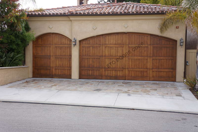 Torino rustic wood garage door with v grooved panel for Rustic wood garage doors