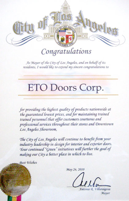 City of Los Angeles Mayoral Recognition Certificate