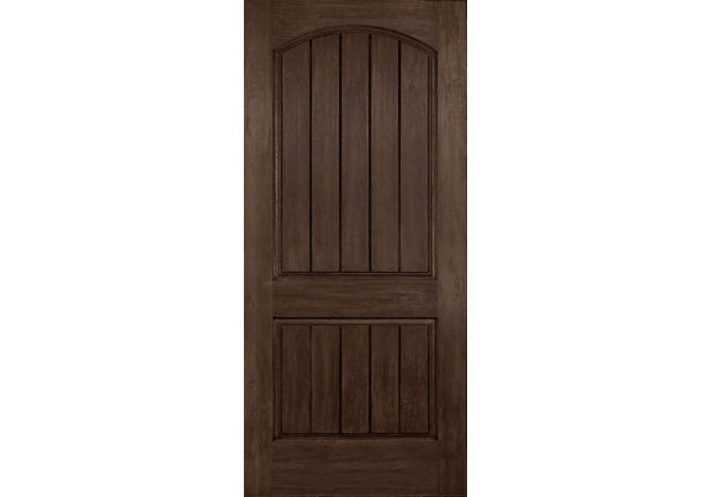 Exterior fiberglass doors - Dra2a Cordova Plastpro Rustic Two Panel Arch Plank