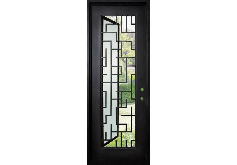 Wrought iron door comes with frame glass with tetris for Door 95 100 doors 3
