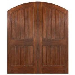 "IMPSardinia - IMPACT-Mahogany Sardinia Elliptical Arch Plank Double Doors (1-3/4"" )"