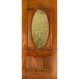 """LOREN Mahogany Door with 3/4"""" Oval Window"""