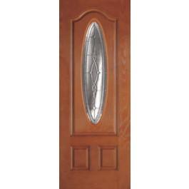 "DRG3080BRE3V3Z - Greenwood-Plastpro - BRENTWOOD BRIGHT ZINC WOODGRAIN 3/4 OVAL DOOR (1-3/4"")"