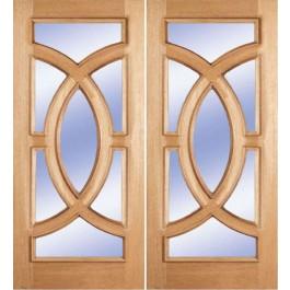 "Sandblast - Escon - Mahogany Oval Ring Double Door (1-3/4"")"
