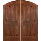 "Impact Mahogany Costa Smeralda Elliptical Arch Plank Double Doors with Clavos (1-3/4"")"