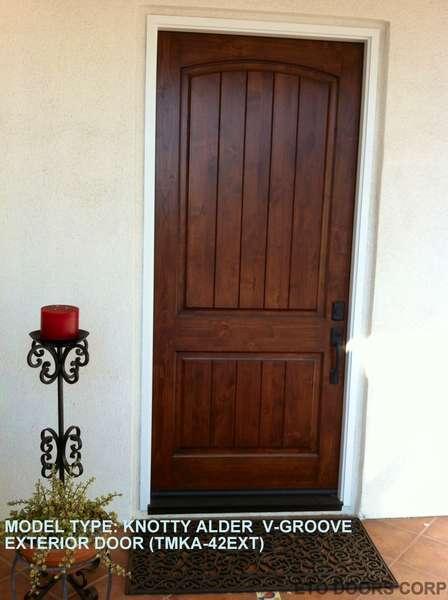 Exterior Knotty Alder 2-Panel V-Groove Arched Top Door   ETO Doors